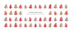 Weihnachtskarte Tannenreihen rot