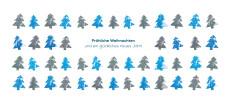 Weihnachtskarte Tannenreihen blau