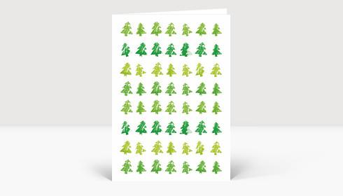 Weihnachtskarte Tannenreihen DIN A6 grün