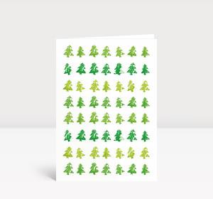 Weihnachtskarte Tannenreihen A6 grün
