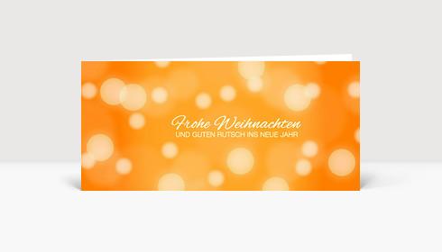 Weihnachtskarte Schneegestöber orange