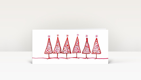 weihnachtskarte gezeichnete tannen international rot. Black Bedroom Furniture Sets. Home Design Ideas