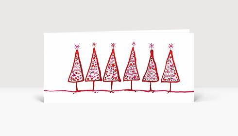 Weihnachtskarte Gezeichnete Tannen international rot