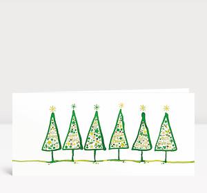 Weihnachtskarte Gezeichnete Tannen international grün