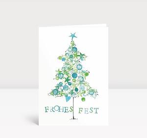 Weihnachtskarte Frohes Fest Tanne gemalt grün blau