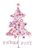 Weihnachtskarte Frohes Fest Tanne gemalt rot violett