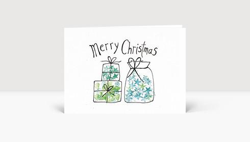 Weihnachtskarte Geschenke gemalt Merry Christmas