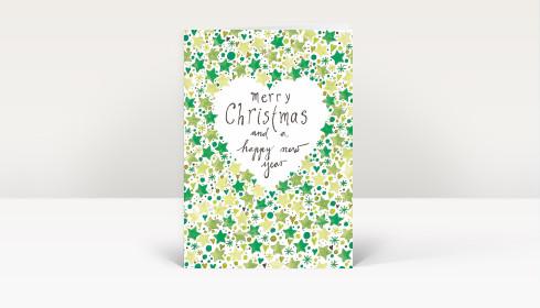Weihnachtskarte gemalte weihnachtsgr e englisch mit sternen in gr n dk1423 - Weihnachtskarte englisch ...