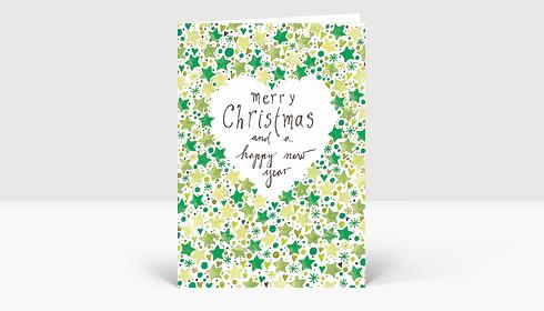 Weihnachtsgrüße Englisch.Weihnachtskarte Gemalte Weihnachtsgrüße Englisch Mit Sternen In Grün