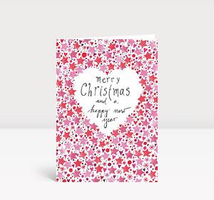 Weihnachtskarte Gemalte Weihnachtsgrüße englisch mit Sternen in rot