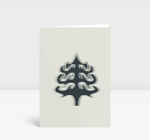 Weihnachtskarte Weihnachtsbaum-Silhouette in dunkelblau khaki