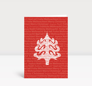 Weihnachtskarte Weihnachtsbaum-Silhouette international in Weiß auf Rot