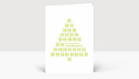Weihnachtskarte Weihnachtsbaum Strichliste grün auf weiß
