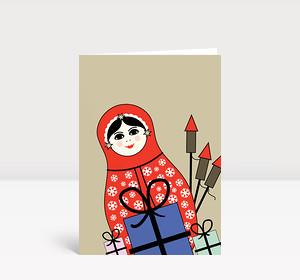 Weihnachtskarte Matroschka