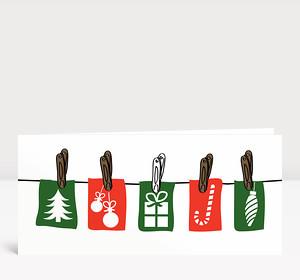 Weihnachtskarte Weihnachtsleine rot und grün auf weiß