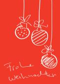 Weihnachtskarte Drei Handgezeichnete Christbaumkugeln auf rot