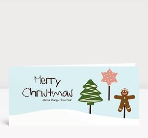 Weihnachtskarte Tanne, Weihnachtskeks und Stern auf Hellblau