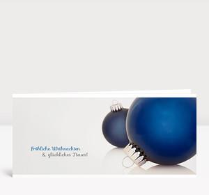 Weihnachtskarte Zwei Christbaumkugeln blau
