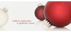 Weihnachtskarte Zwei Christbaumkugeln rot