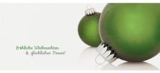 Weihnachtskarte Zwei Christbaumkugeln grün