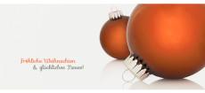 Weihnachtskarte Zwei Christbaumkugeln orange