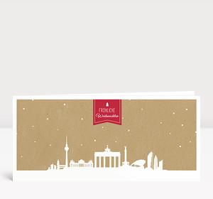 Weihnachtskarte Berlin auf Karton rot