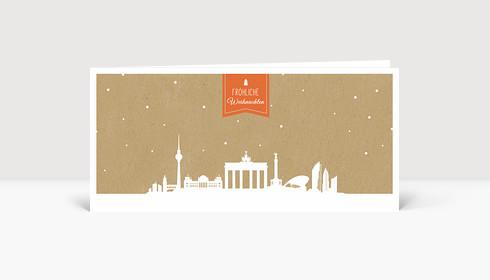 Weihnachtskarte Berlin auf Karton orange