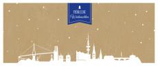 Weihnachtskarte Hamburg auf Karton blau