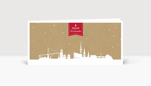 Weihnachtskarte Hamburg auf Karton rot