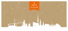 Weihnachtskarte Hamburg auf Karton orange