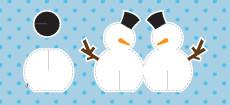 Weihnachtskarte Schreibtisch-Schneemann blau
