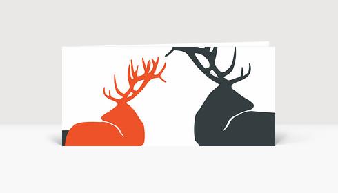 Weihnachtskarte Drei edle Hirsche in grau und orange auf weiß