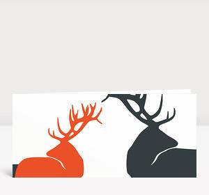 Weihnachtskarte Edle Hirsche orange