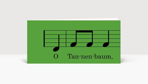 Weihnachtskarte O Tannenbaum Noten grün