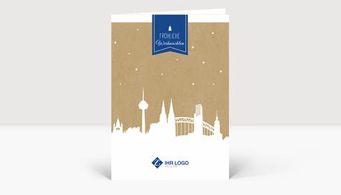 Weihnachtskarte Köln auf Karton A6 blau