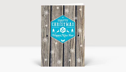 Weihnachtskarte Holz Schneeflocken modern Greetings blau