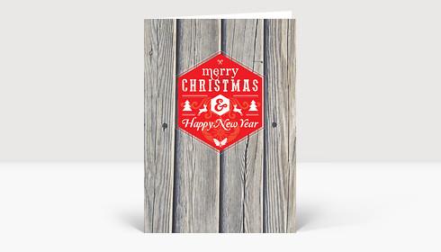 Weihnachtskarte Holz Schneeflocken modern Greetings rot