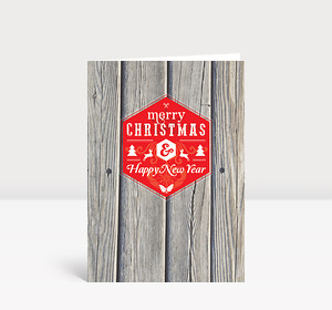 Weihnachtskarte Holz Schneeflocken modern Greetings