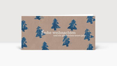 Weihnachtskarte Kartoffeldruck Tannen in blau