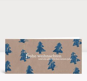 Weihnachtskarte Tannen blau