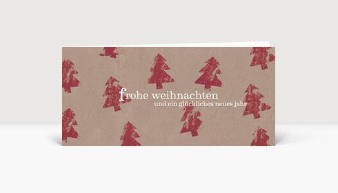 Weihnachtskarte Kartoffeldruck Tannen rot
