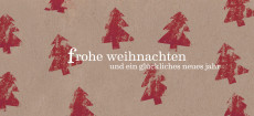 Weihnachtskarte Tannen rot
