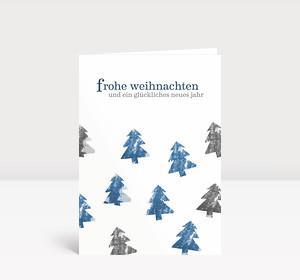 Weihnachtskarte Tannen A6 blau