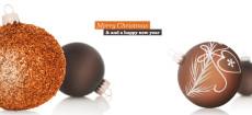 Weihnachtskarte Christbaumkugeln orange braun englisch