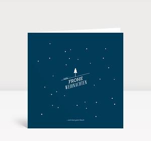 Weihnachtskarte Kleine Schlittenfahrt auf Dunkelblau