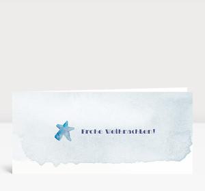 Weihnachtskarte Weihnachtsstern Aquarell in blau