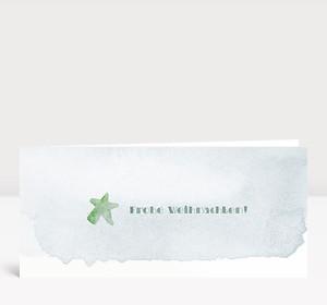 Weihnachtskarte Weihnachtsstern Aquarell in grün-blau