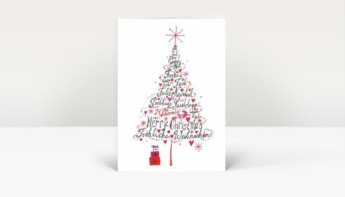 weihnachtskarte international weihnachtsbaum pink dk1704. Black Bedroom Furniture Sets. Home Design Ideas