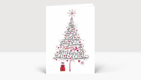 weihnachtskarte international weihnachtsbaum pink. Black Bedroom Furniture Sets. Home Design Ideas