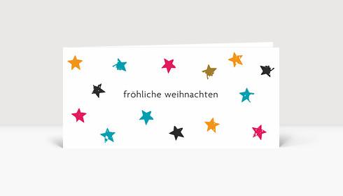 Weihnachtskarte Sternenkarton bunt